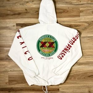Vintage Dos Equis Mexican White Beach Hoodie L